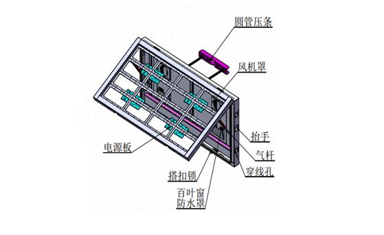 交通信息屏(红绿-P10-1280×640mm-立柱&横杆背抱箍安装)
